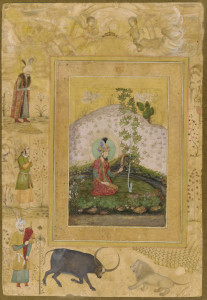 Humayun Seated in a Landscape, from the Late Shah Jahan Album ca. 1650 Payag , (Indian, active ca.1591-ca.1658)  Mughal dynasty  Reign of Shah Jahan Opaque watercolor, ink and gold on paper mounted on paperboard India